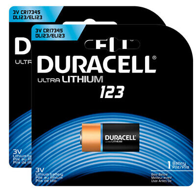 2PK Duracell 3V Ultra Lithium 123 Battery CR123/CR17345/DL123 for Camera/Flash