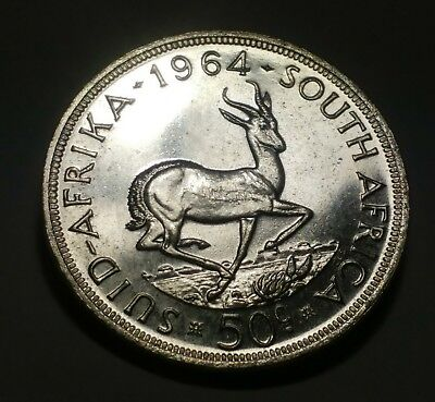 1964 South Africa 50 Cents Silver- Proof-Like - .500 Silver - KM#62 Silver Crown