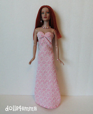 "TYLER 16"" DOLL CLOTHES Handmade Pink GOWN & JEWELRY Sydney Fashion NO DOLL d4e"