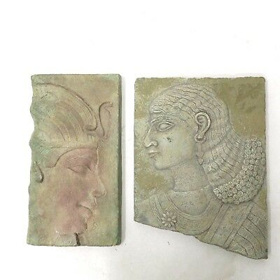 Egyptian Fragment Sculptural Pair Wall Relief Plaque Faux Stone