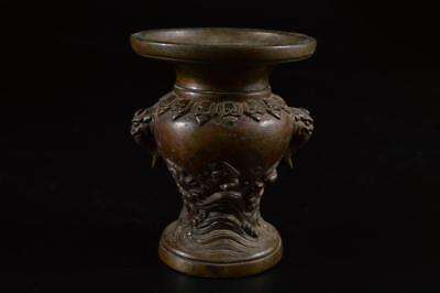 R9698: Japanese Old Copper Bird sculpture Shapely FLOWER VASE Buddhist art