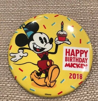 Disney Happy Birthday Mickey Mouse 90th Anniversary Button New