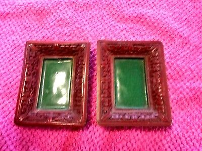 Antique Chinese small pair of matching cinnabar frames/trays enameled