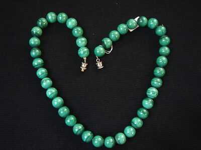 Necklace Of Pearls In Malachite Vintage 70 New 40 Cm/ Necklace Old New Vintage