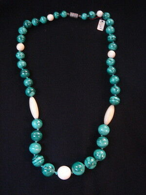 Necklace Of Pearls In Malachite Vintage 70 New 57 Cm/ Necklace Old New Vintage
