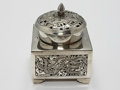 antique chinese export silver inkwell with dragon /  Tintenfass China Silber