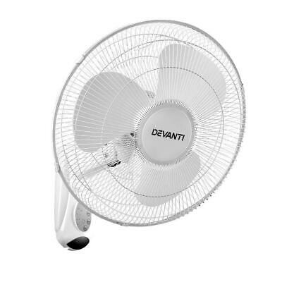 DEVANTi Oscillating Wall Mounted Fan Remote Control Timer Cooler 40cm 16'' White