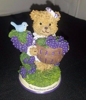 Vintage Berry Patch Bears The Goodness of Grapes Rare Smuckers Bear Figurine