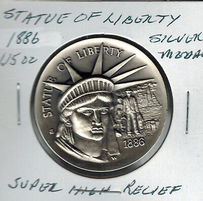 1886 Statue Of Liberty Longine's ASW 1.15 Silver .925  Super High Relief