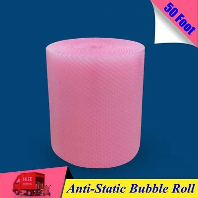 """50 Foot PINK Anti-Static Bubble Roll 3/16"""" Small Bubbles  12"""" x 50' Perforated"""