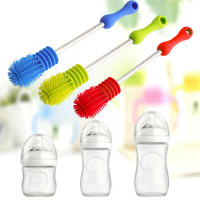 New 2 in 1 Baby Feeding Bottle Nipple Glass Nozzle Spout Cup Cleaning Brush,AU