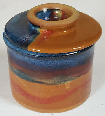 New ALWAYS AZUL POTTERY non pattern GLAZED FRENCH BUTTER KEEPER made in COLORADO