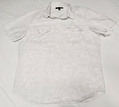 Banana Republic Shirt Mens Linen Blend Button Short Sleeve Size L Large