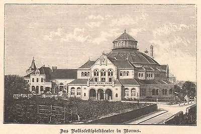 Worms  Volksfestspieltheater Theater  Holzstich 1889