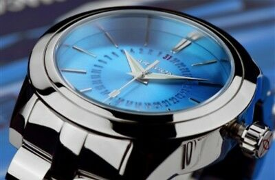 ARAGON 50mm Radius Special Red Date Wheel Stainless Steel Watch ICE BLUE Dial