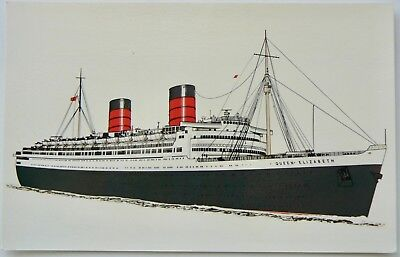 Postcard-Ships.the Queen Elizabeth.launched 1938.sadly Scrapped In 1948