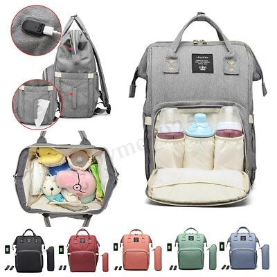 LEQUEEN Waterproof Baby Diaper Bag Mummy Maternity Nappy Travel USB Backpack New