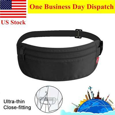 Travel Money Belt Hidden Waist Bag Secure Passport Pouch Black Wallet Adjustable
