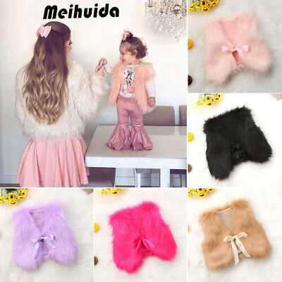 Winter Warm Baby Girls Toddler Kids Faux Fur Vest Gilet Outerwear Coat Jacket AU