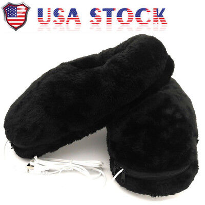 USB Heating Shoes Slippers Keep Feet Warm Electric Powered Shoes Coldproof BS US