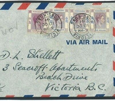 Y148 HONG KONG WW2 Air Mail 1941 $3.50 Rate KGVI Franking Cover CANADA Vancouver