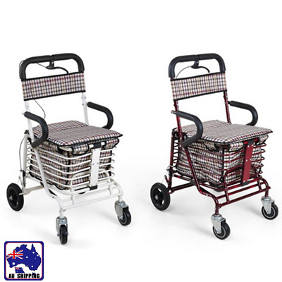 Foldable Shopping Cart Trolley Portable Grocery Basket w/ Seat 4 Wheels HFT0240