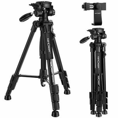 K&F Concept Pro Portable Compact DSLR Camera Tripod Pan Head Free Phone Holder