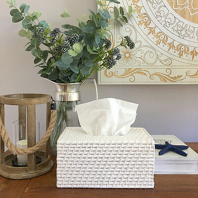 White Rattan Tissue Box Cover/Home Decor/Bathroom/Hampton's/Coastal