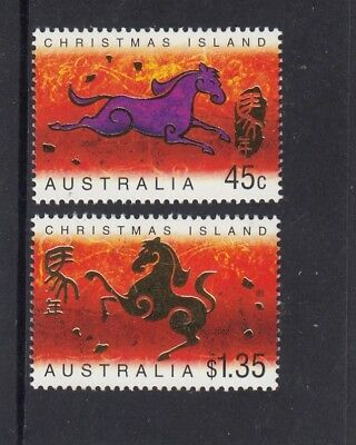 CHRISTMAS IS  2002 Year of the HORSE design set of 2  MNH