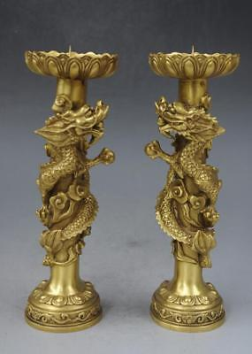Old China Brass Copper Dragon Animal Candle Holder Candlestick f02