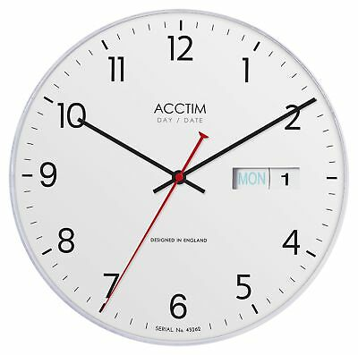 """Acctim"""" Datetime Day and Date Wall Clock, White, 4.7 x 28.1 x 28.1 cm"""