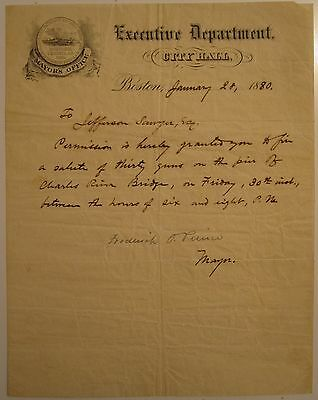 1880 Antique Boston Ma 250 Anniversary 30 Gun Salute Charles River Mayor Prince