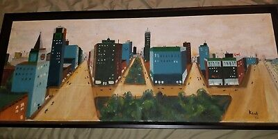 VINTAGE MID CENTURY MODERN CITYSCAPE ORIGINAL OIL by KENT Professionally Framed