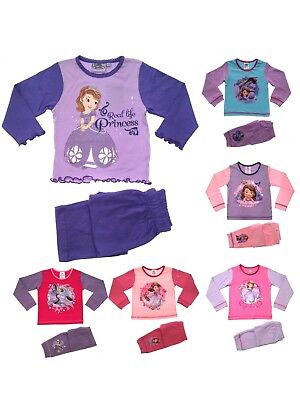 Kids Girls Official Disney Princess Sofia Long Pyjamas Pj's 2 Piece Size 1 - 5 Y