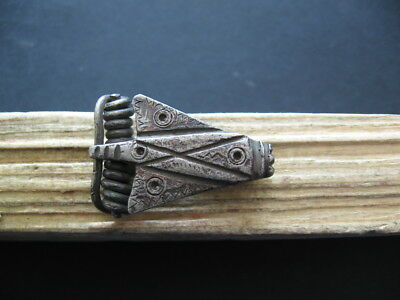 CIKADA ENGRAVED INSECT FIBULA ANCIENT CELTIC ROMAN SILVER BROOCH 1-2 ct. AD