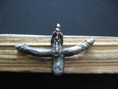 PRIAPUS WITH DOUBLE PHALLUS ANCIENT ROMAN SILVER FERTILITY AMULET 1-2 ct. AD