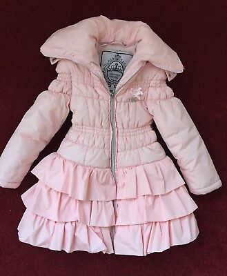 66bdee0c5 GIRLS DESIGNER LE CHIC pink ruffle winter coat. Size 110   3-4 years ...