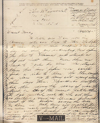 Original WWII V-MAIL Letter CAPTAIN 106th AAA Group CORSICA 11 October 1944 M
