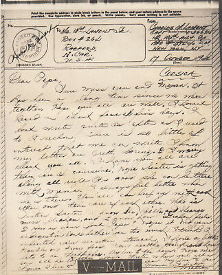 Original WWII V-MAIL Letter CAPTAIN 106th AAA Group CORSICA 17 October 1944 N