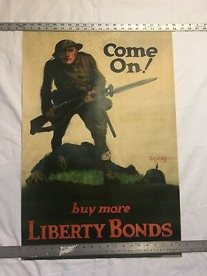 "1918 Vintage  ORIGINAL WW1 Poster  BY Walter Whitehead  Perfect ""Come on"""