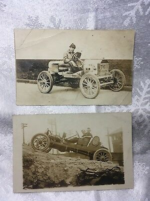 2 Original Vintage Sepia Early Automobile Postcards Roadsters early 1900's