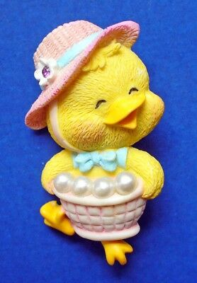 BUY1&GET1@50%~Avon PIN Easter DUCK LAUNDRY BASKET Faux Pearls Vtg Holiday Brooch