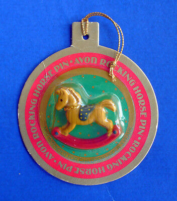 BUY1&GET1@50%~Avon PIN Christmas MOC ROCKING HORSE Vtg 85 Holiday Jewelry BROOCH