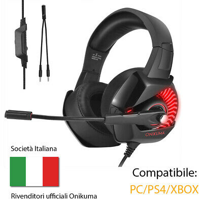 ONIKUMA Stereo Cuffie Gaming  7,1 Audio Surround Cuffie da gioco PS4 PC Xbox
