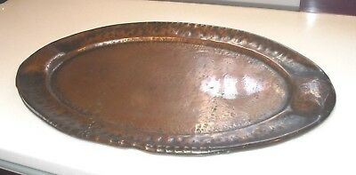 Large Arts & Crafts Movement All Hand Beaten Solid Copper Tray Antique
