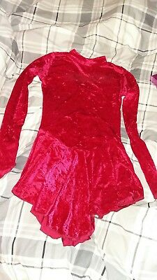 Red Crushed Velvet Ice Skating Dancing Dress Size 10-12
