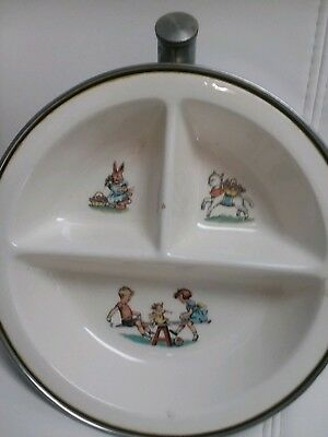 Vintage Divided Child's Baby Hot Water Warming Dish Bowl