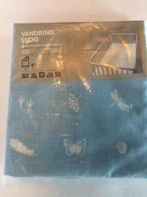 "Ikea Vandring Skog Blue Quilt Cover Pillowcase 43 X 49"" Blue Reverse Plaid NIP"