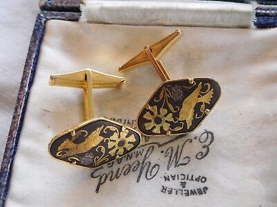 Stunning Vintage 1950s Damascene Bird Cufflinks