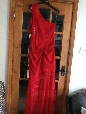 Women's dress red long maxi gown one shoulder embellished party sexy lipstick 14